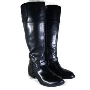 Chaps Black Faux Leather Riding Boots
